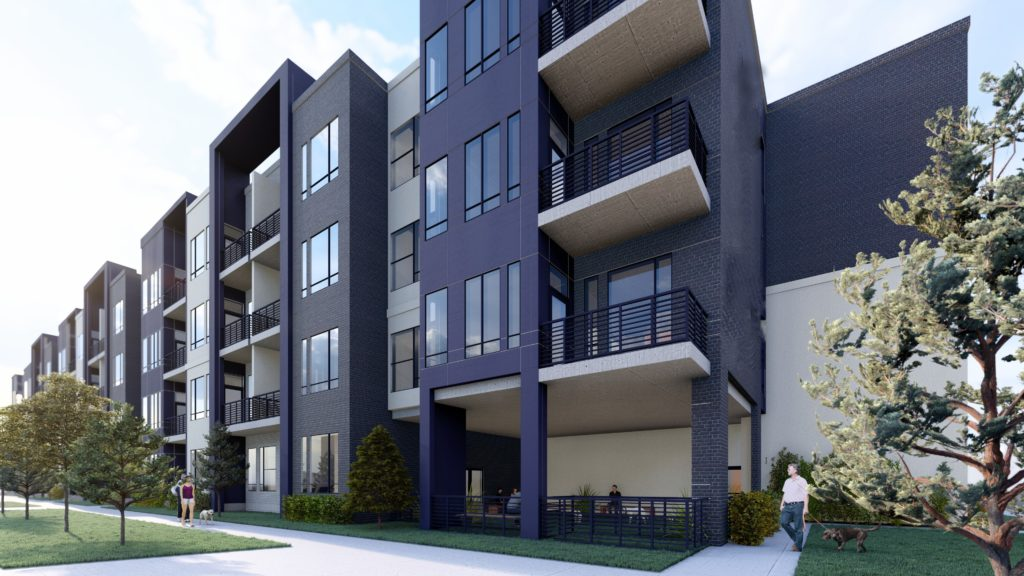 Rendering for 4 story apartment building.