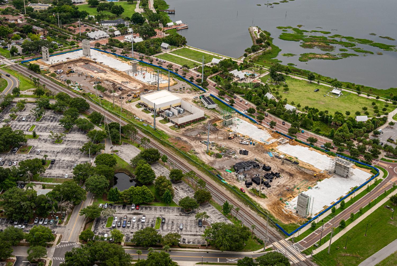 Aerial photo of construction progress.